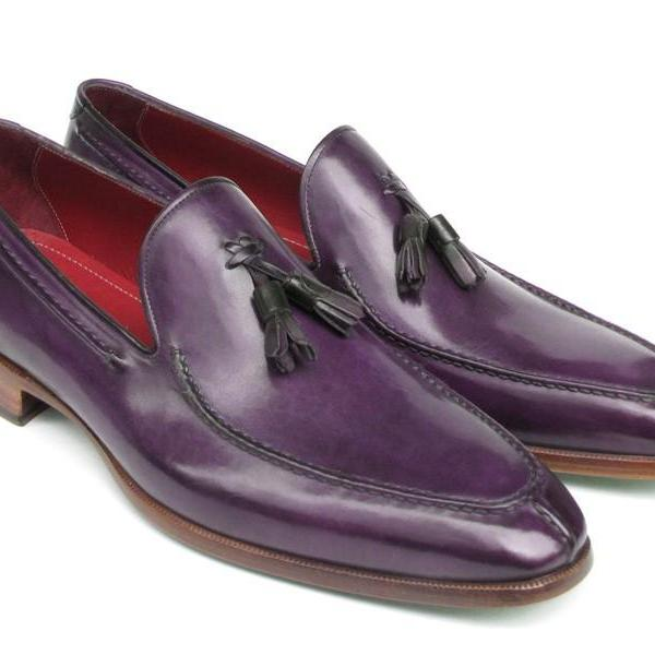 Customized Handcrafted Men's Moccasin Loafer Split Toe Purple Color Derby Leather Shoes