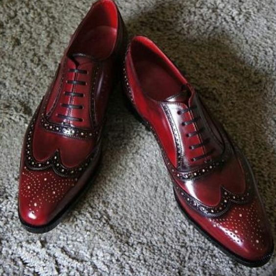 Handcrafted Men's Oxford Burnished Brogue Toe Hand Painted Maroon Red Color Leather Shoes
