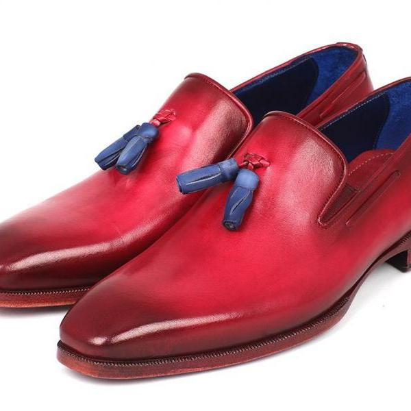 Made To Order Men's Two Tone Burnished Toe Red Loafers Moccasin Derby Leather Shoes