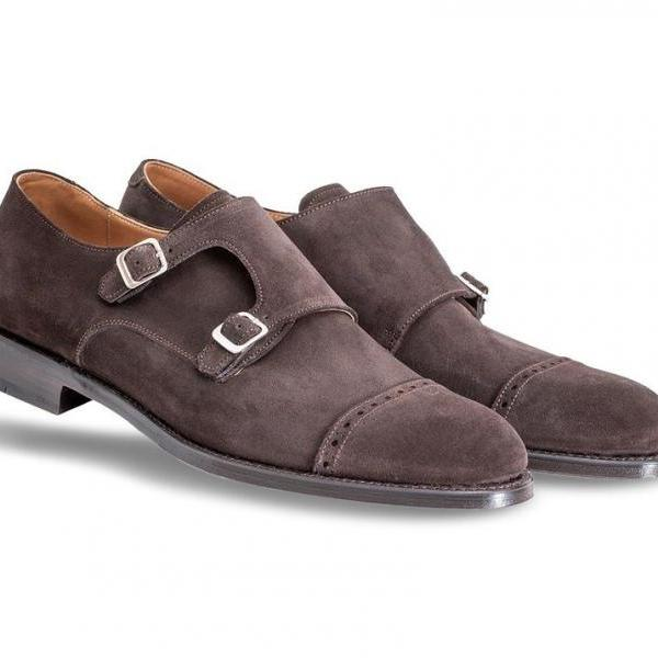 Handcrafted Men's Brown Monk Cap Toe Double Buckle Strap Genuine Suede Leather Shoes