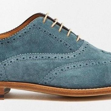 Handmade Men's Brogue Toe Sky Blue Genuine Suede Leather Lace up Shoes
