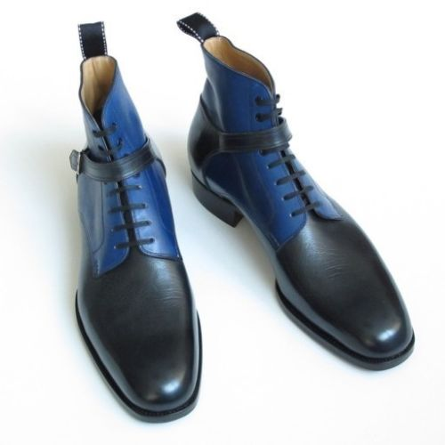 Handcrafted Men's Black Blue Contrast High Ankle Plain Toe Genuine Leather Lace up Boots