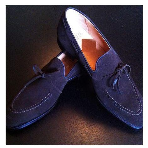 Handcrafted Men's New Blue Slipper Tassel Loafer Genuine Suede Leather Shoes