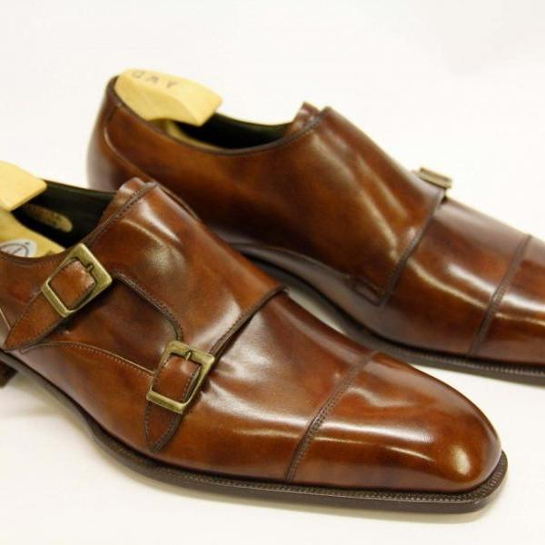 Handmade Men's Shiny Brown Monk Double Buckle Strap Genuine Leather Shoes