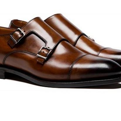 Hand Stitched Men's Brown Monk Burnished Cap Toe Double Buckle Strap Leather Shoes