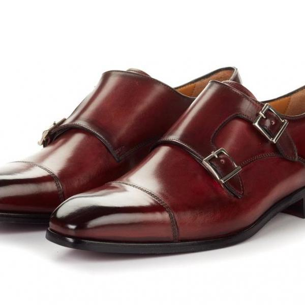 Customized Handcrafted Men's Maroon Red Monk Cap Toe Double Buckle Strap Leather Shoes
