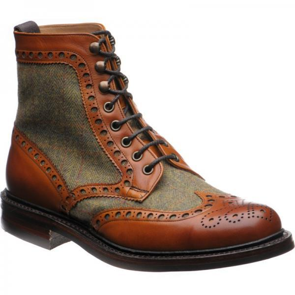 Made To Order Men's Brown Color High Ankle Brogue Toe Green Tweed Leather Lace up Boots