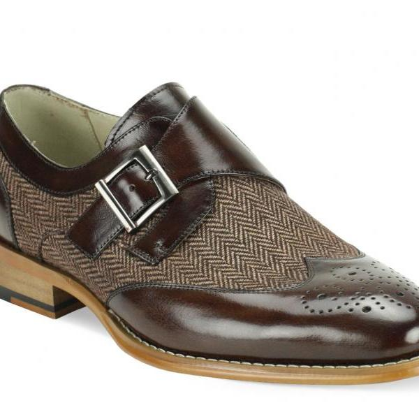 Handmade Men's Brown Monk Tweed Brogue Toe Single Buckle Strap Leather Shoes