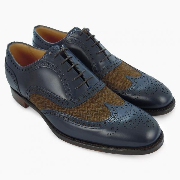 Made To Order Men's Wingtip Navy Blue Brogue Toe Tan Tweed Genuine Leather Lace up Shoes