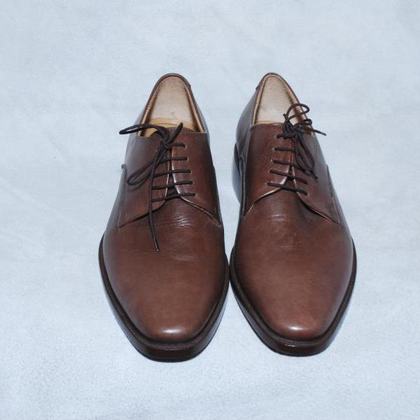 Men Brown Laceup Plian Toe Oxford Genuine Classiacal Leather Shoes