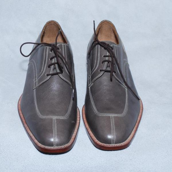 Coffee Brown Laceup Split Toe Plain Tip Oxford Genuine Leather Shoes For Men