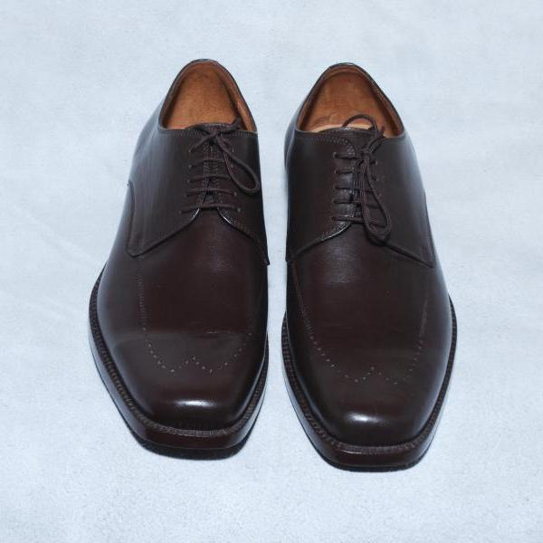 Handmade Men Brown Wing Tip Brogue Design Lace Up Oxford Genuine Leather Shoes