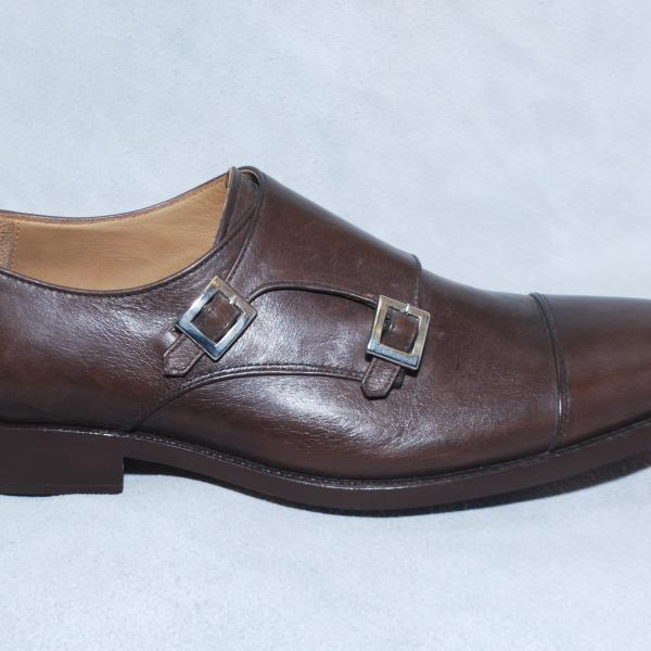 Men Brown Cap Toe Double Buckle Straps Monk Genuine Real Leather Shoes