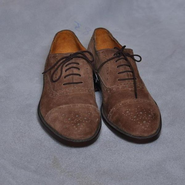 Hand Stitched Men Brown Brogue Cap Black Lace up Oxford Suede Pure Leather Shoes