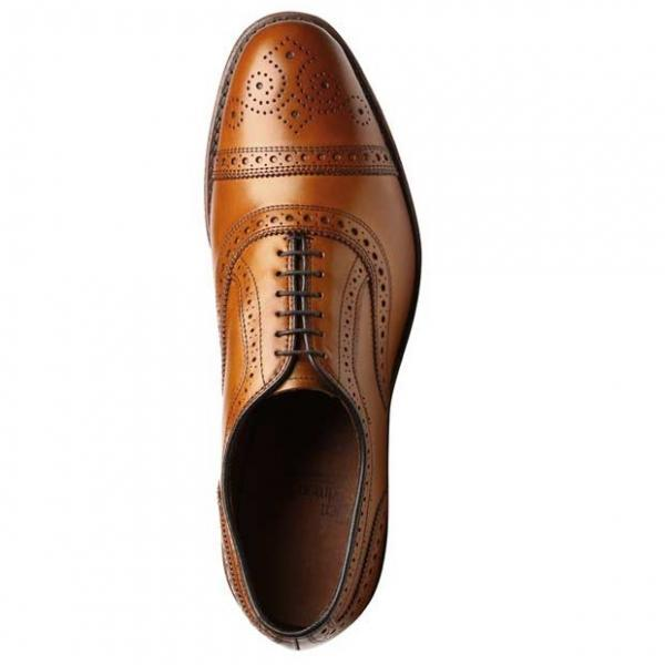 Hand Crafted Brown Brogue Cap Lace up Genuine Pure Oxford Leather Shoes