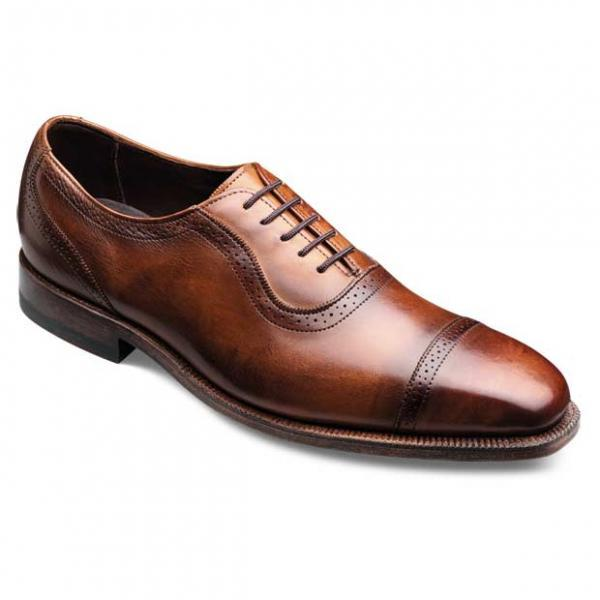 Men Burnished Black & Brown Cap Toe Brogues Oxford Genuine Leather Laceup Shoes