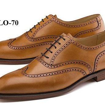 Men Brown Plain Toe Wing Tip Oxford Genuine Pure Leather Lace up Shoes