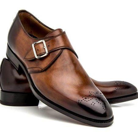 Men Two Tone Monk Burnished Brogue Toe Single Buckle Strap Genuine Leather Shoes