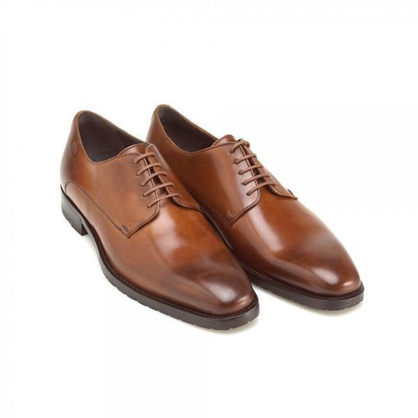 Hand Made Men Brown Plain Tip Oxford Vintage Pure Formal Leather Lace up Shoes
