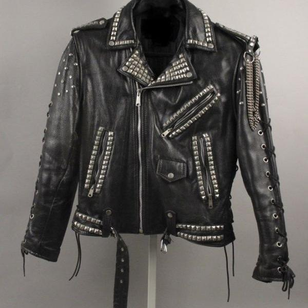 Black Belted Chain Style Leather Jacket with High Quality Silver Studs for Men's