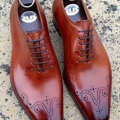 Burnished Oxford Brogues Toe with Pointed Tip Leather Lace up Formal Men Shoes
