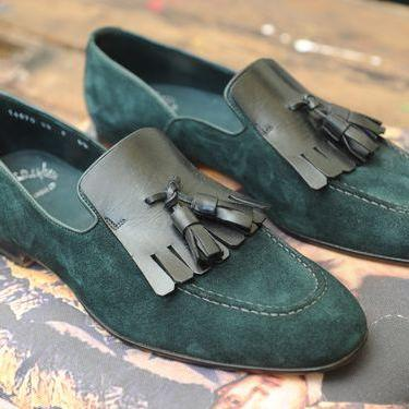 Men Green Moccasin Suede Pure Leather Loafer Slip Ons with Tassels & Black Sole