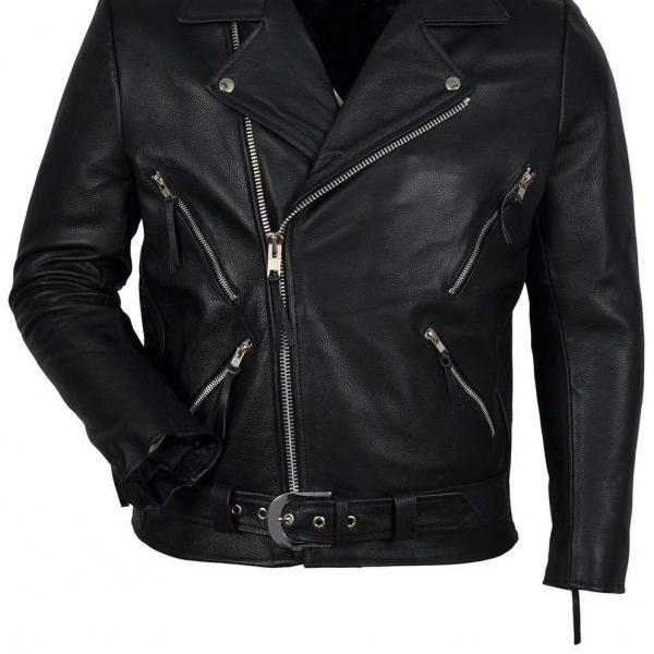 Ghost Rider Black Cowhide Leather Jacket with Long Metal Silver Spike Studs