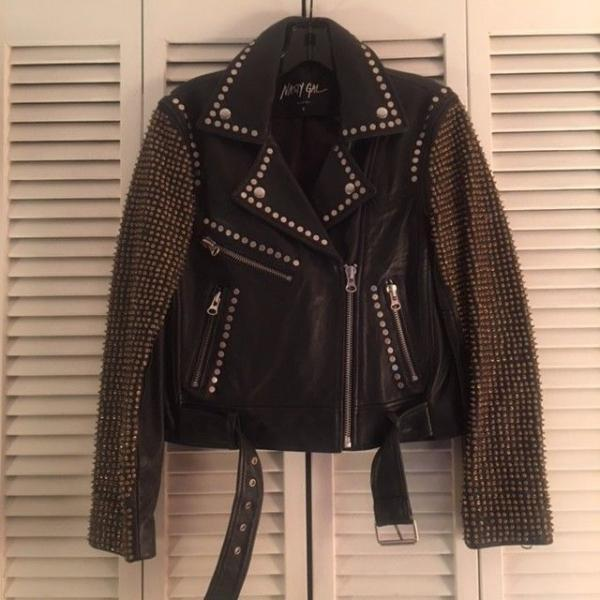 Black Belted Buckle Premium Leather Jacket with Gold Silver Studs for Women's