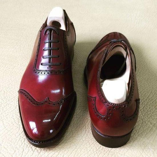 Maroon Oxford Wing Tip Plain Toe Genuine Leather Lace up Classical Men Shoes