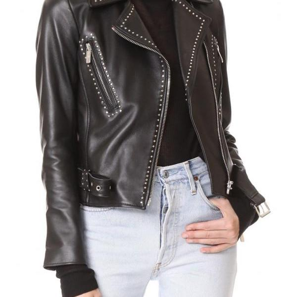 Black Belted Buckle Strap Genuine Leather Jacket with Silver Studs for Women's