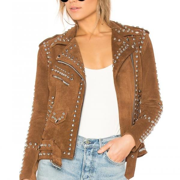 Brown Suede Leather Silver Studs Shoulder Epaulets & Belted Buckle Strap Jacket