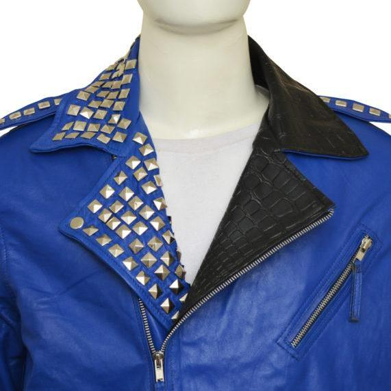 Men Blue Color Genuine Leather Jacket Silver Studs Shoulder Strap Zipper Sleeves