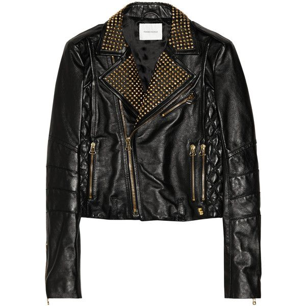 Hand Crafted Black Genuine Leather Jacket With Golden Stud For Men Zipper Pocket