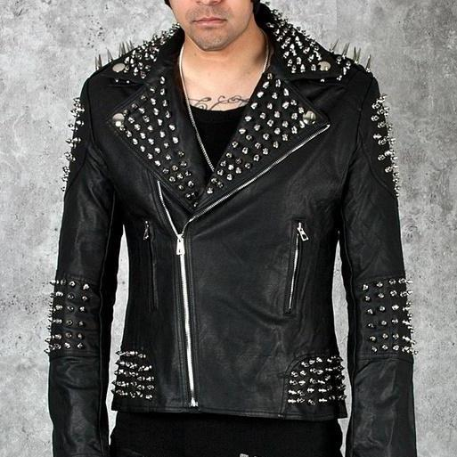 Black Genuine Leather Jacket With Silver Spiked Studs For Men Zipper Sleeves