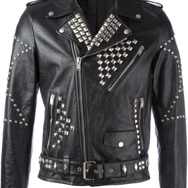 Men Black Genuine Classical Biker Leather Jacket With Silver Studs Zipper Sleeve