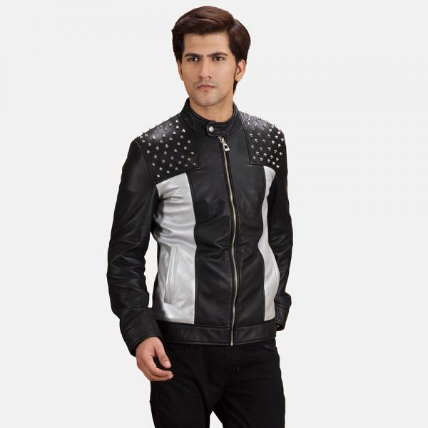 Two Tone Color Black & White Genuine Leather Jacket Silver Studded For Men