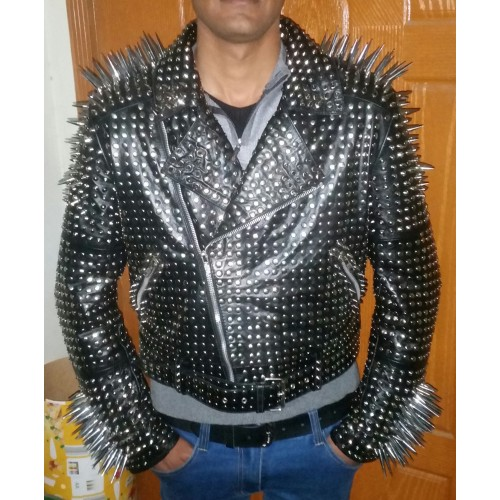Black Color Punk Style Genuine Leather Jacket Long Silver Spiked Studs For Men