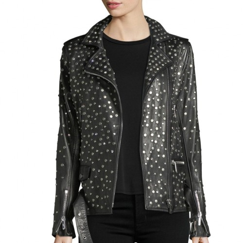 Customized Women Black Color Rider Genuine Elegant Leather Jacket Silver Studded