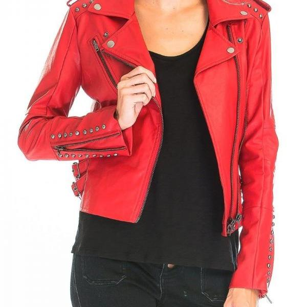 Hand Crafted Red Genuine Classical Leather Jacket Silver Studded For Women