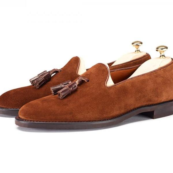 Brown Moccasin Loafer Slip Ons Genuine Suede Leather with Tassels for Men's