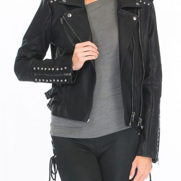 Women Black Real Genuine Leather Jacket Silver Studded Casual Wear Hand Stitched