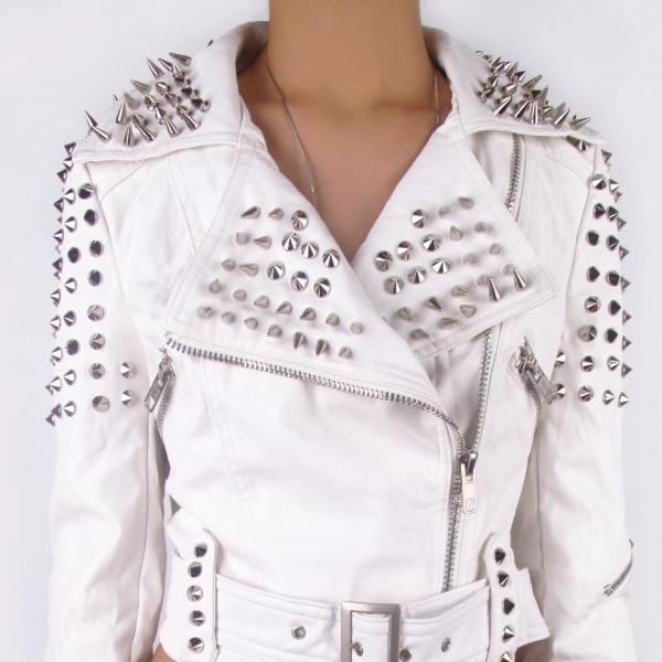 Women White Short Body Genuine Real Leather Jacket Long Spiked Silver Studded