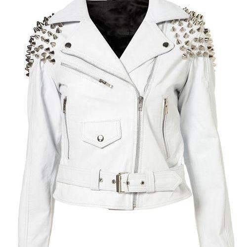 White Color Genuine Real Leather Jacket Silver Studded Belted Waist For Women