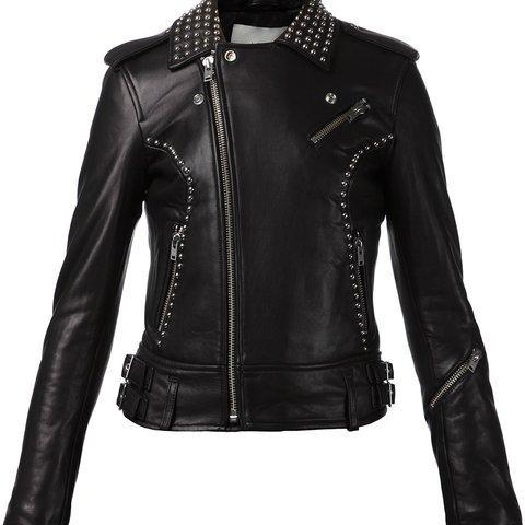 Hand Crafted Black Genuine Real Biker Leather Jacket Silver Studded For Women