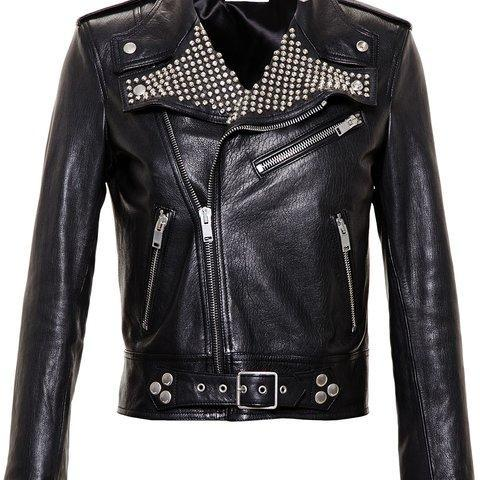 Black Color Genuine Real Biker Leather Jacket Silver Studded For Women