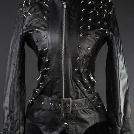 Customized Black Genuine Belted Leather Jacket Spiked Silver Studded For Women