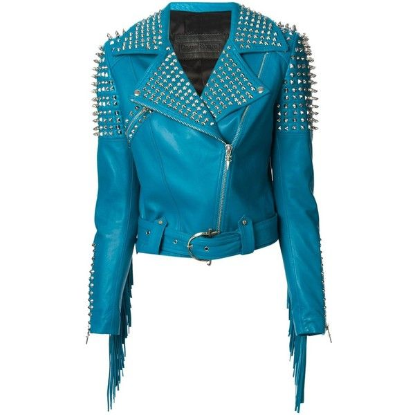 Hand Made Blue Genuine Leather Jacket Fringes Spiked Silver Studded For Women