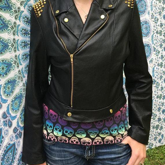 Hand Made Women Black Genuine Biker Leather Jacket Golden Studded On Shoulder