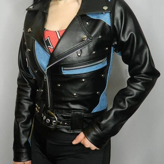 Two Tone Black Blue Real Genuine Leather Jacket With Silver Studs For Women