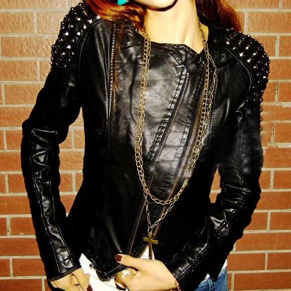Women Black New Fashion Punk Style Rock Star Leather Jacket Silver Studded